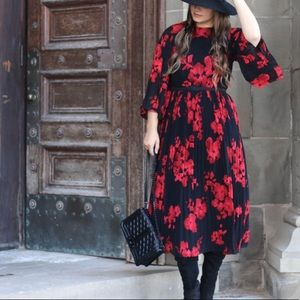 H&M pleated black dress